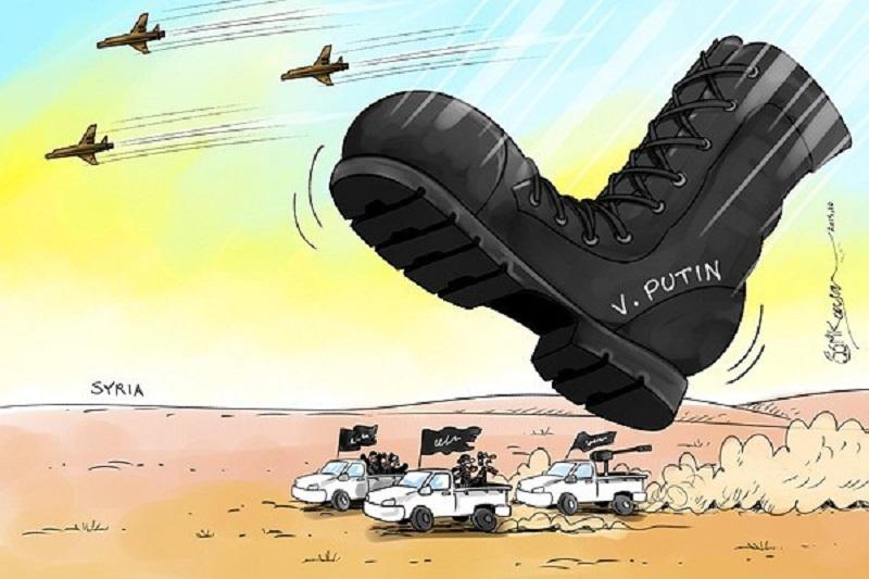 کاریکاتور:آوار شدن پوتین بر سر تروریستها در سوریه