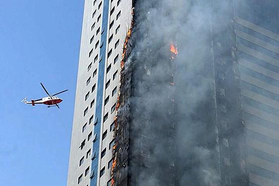آسمانخراش دوبی در آتش + عکس
