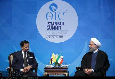 Rouhani confers with Brunei leader