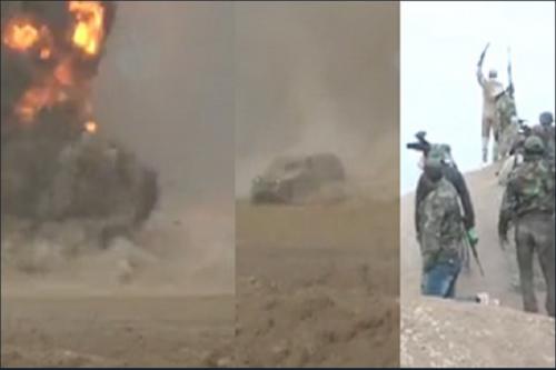 فیلم/ لحظه هدف قرار گرفتن خودروی انتحاری داعش