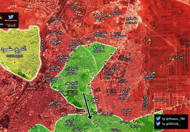 قطع کامل ارتباط تکفیریها در شمال و شرق«حلب»/ آزادی ۱۲ منطقه در عملیات تمامعیار ارتش سوریه