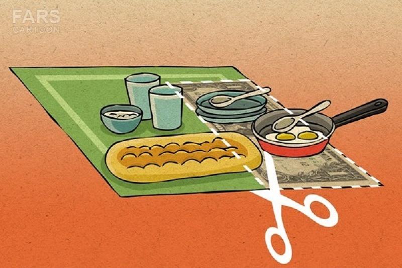 کاریکاتور: سانسور سفره ی غذای خانوار با دلار!
