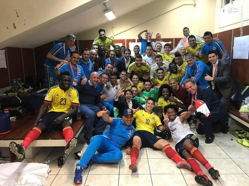 رختکن کلمبیا پس از صعود به جام جهانی+عکس
