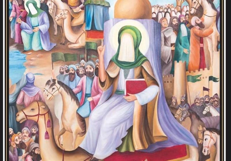 پرده نقاشی زندگانی امام رضا(ع) با نام «از مدینه تا مرو» رونمایی شد