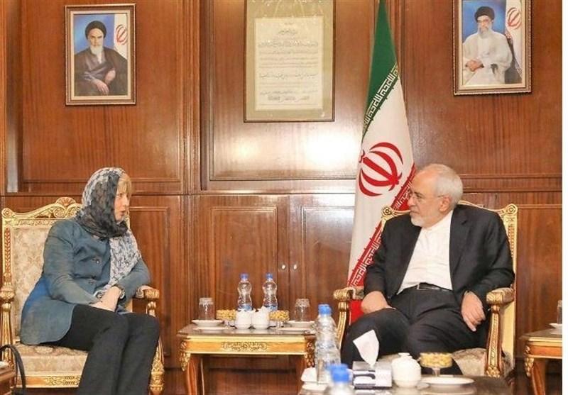 دیدار ظریف با دبیر کل سرویس اقدام خارجی اتحادیه اروپا