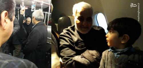 حضور بدون تشریفات حاج قاسم در هواپیما+عکس