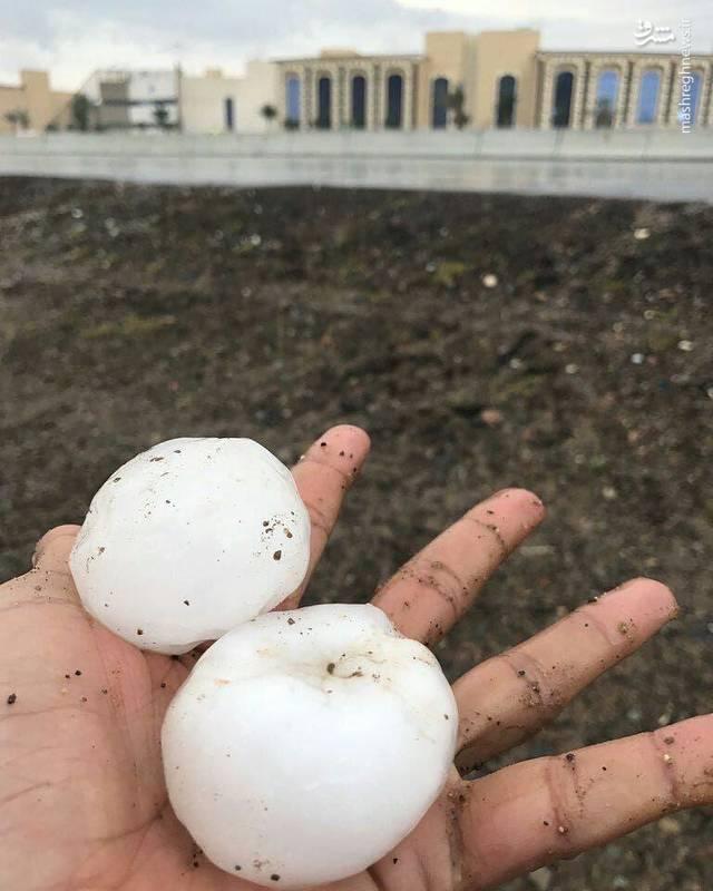 خسارتهای بارش تگرگ شدید در عربستان+عکس