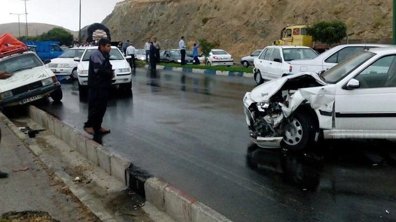تصادف ۸ خودرو در گرمسار