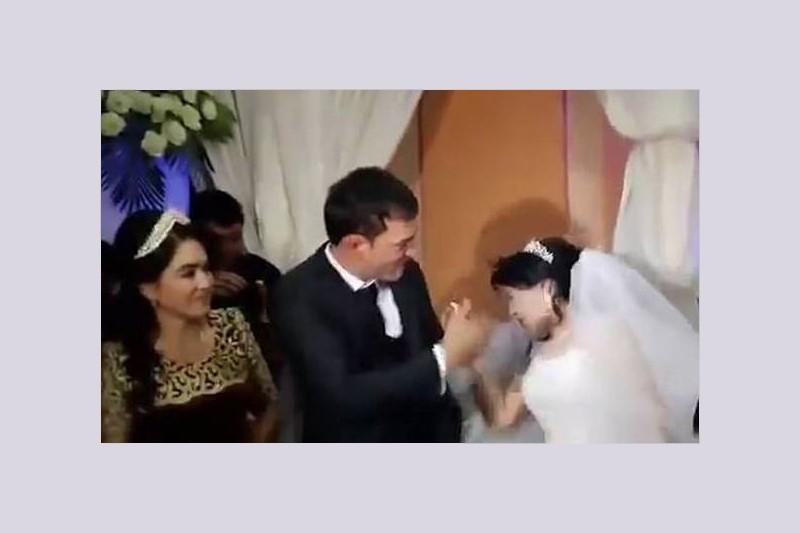 سیلی زدن داماد به عروس در مقابل چشم مهمانان!+فیلم