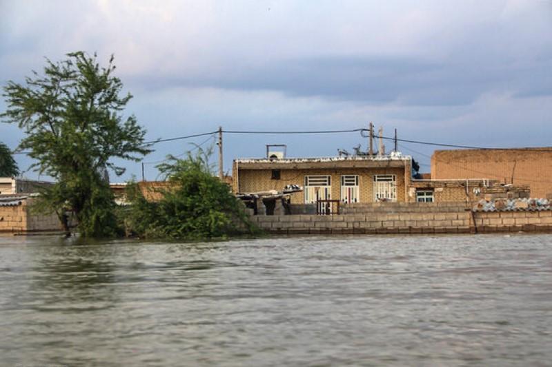 ارتفاع زیاد آب در روستای بُنده در سوسنگرد+فیلم