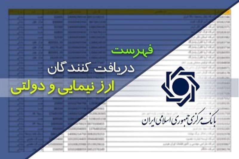 فهرست دریافت کنندگان ارز دولتی و نیمایی طی بازه زمانی فروردین ۹۸