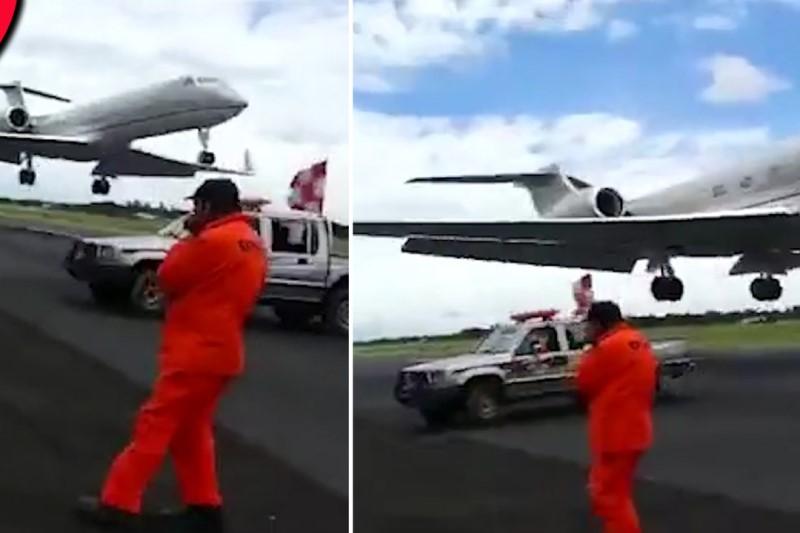 صحنه ای دلهره آوری که حین فرود هواپیما در فرودگاه رقم خورد+فیلم