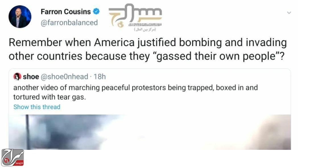 """واکنش  فِرون کازینز، ویراستار اجرایی مجله آمریکایی """"The Trial Lawyer""""، به سرکوب تظاهرات مسالمت آمیز ضد نژادپرستی"""