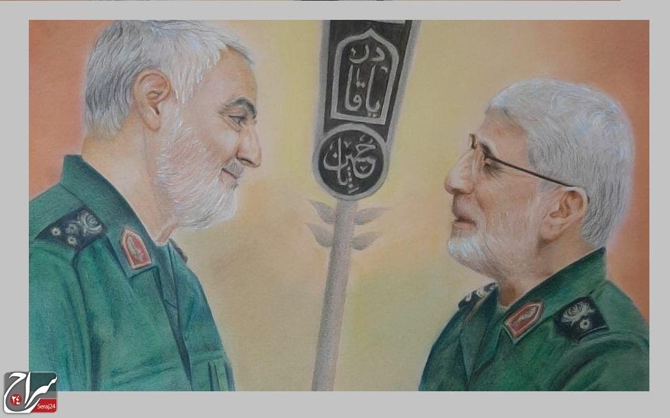 نقاشی سرکار خانم زهرا طاوهئی درباره  شهید سلیمانی
