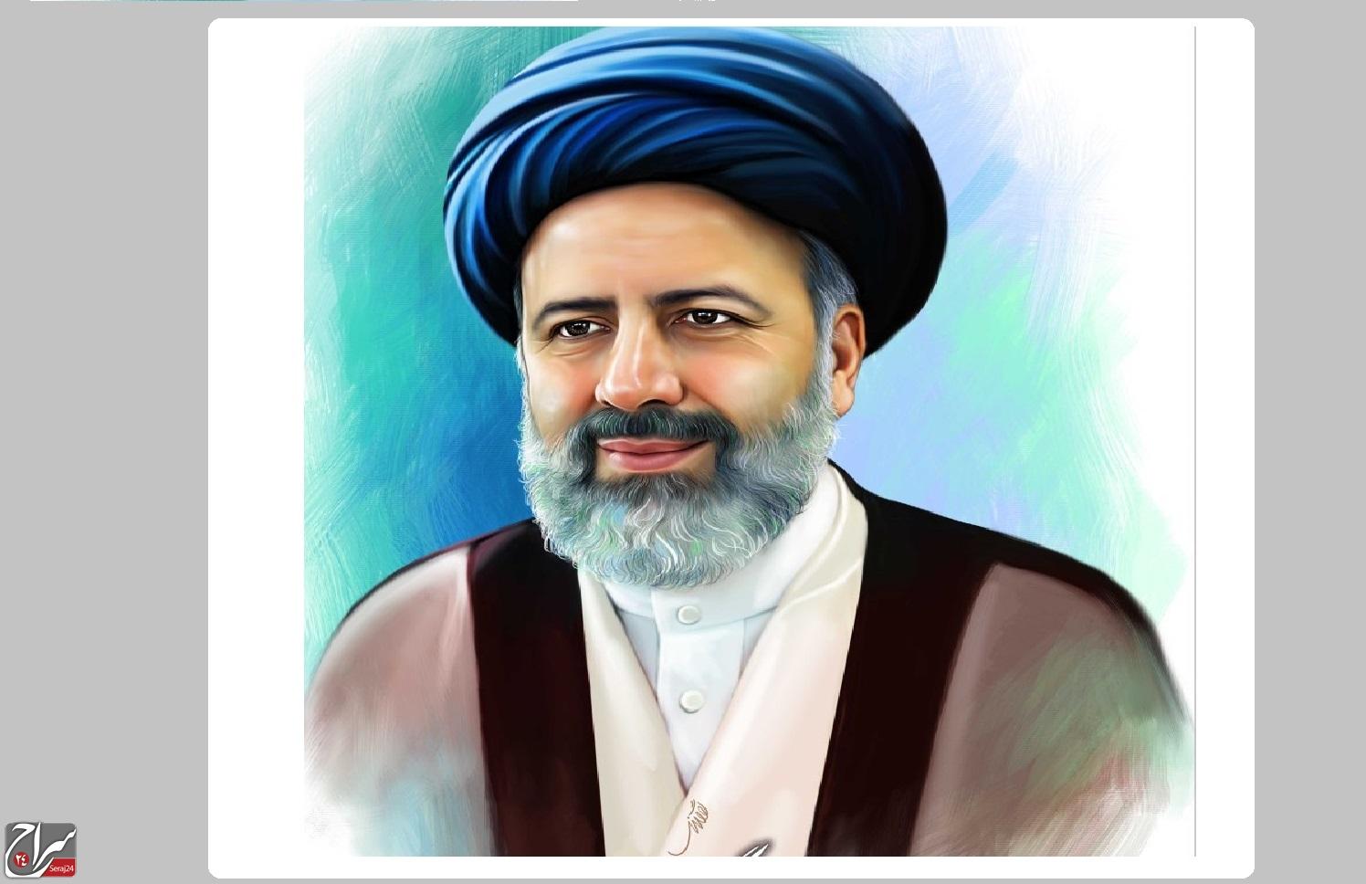 نقاشی چهره حجت الاسلام سید ابراهیم رئیسی به مناسبت هفته قوه قضائیه