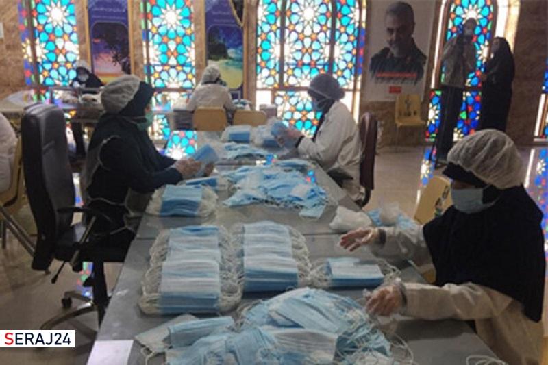 تولید روزانه ۱۰۰ هزار ماسک در حرم مطهر علی بن حمزه (ع) شیراز