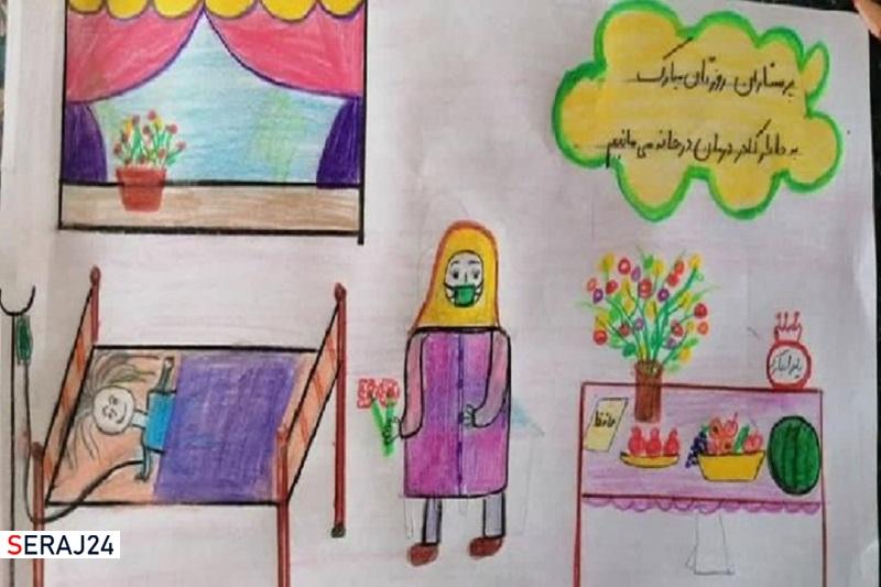 خلاقیت یک آموزگار در تبریک روز پرستار با ترویج فرهنگ در خانه ماندن