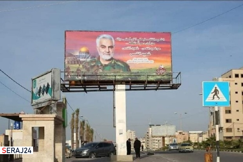 تصویر حاج قاسم در غزه صهیونیستها را به شدت خشمگین کرد