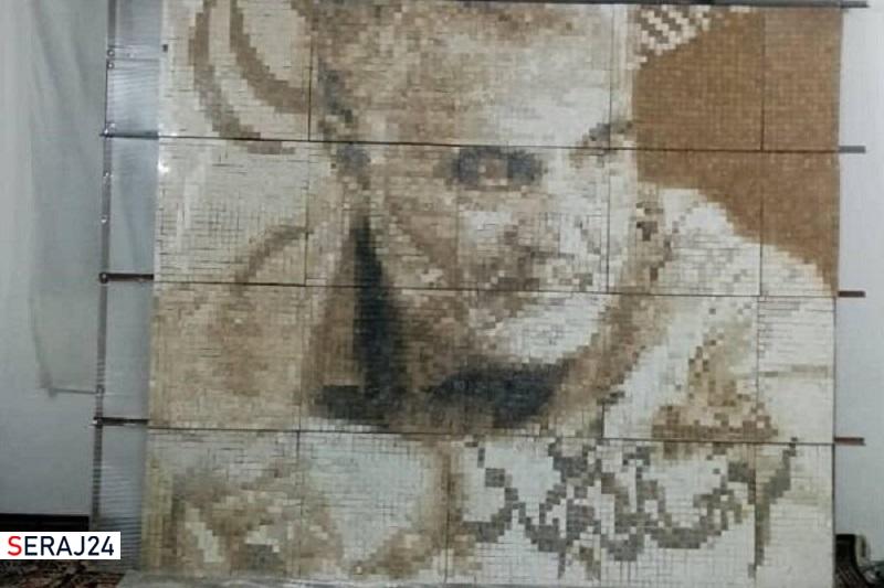 تصویر سردار شهید سلیمانی با بیست هزار قطعه سنگ آماده شد
