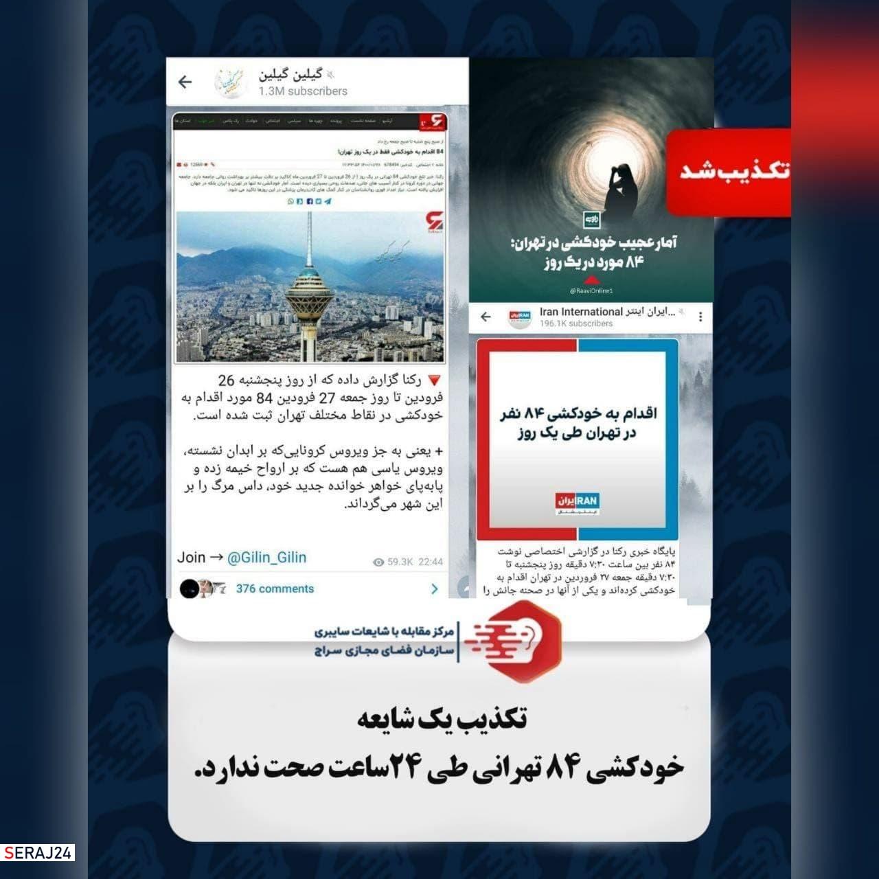 خودکشی ۸۴ تهرانی طی ۲۴ ساعت صحت ندارد