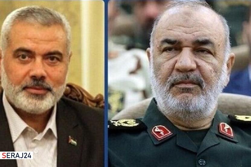 گفت و گوی تلفنی سردار سلامی و اسماعیل هنیه درباره پیروزی مقاومت فلسطین