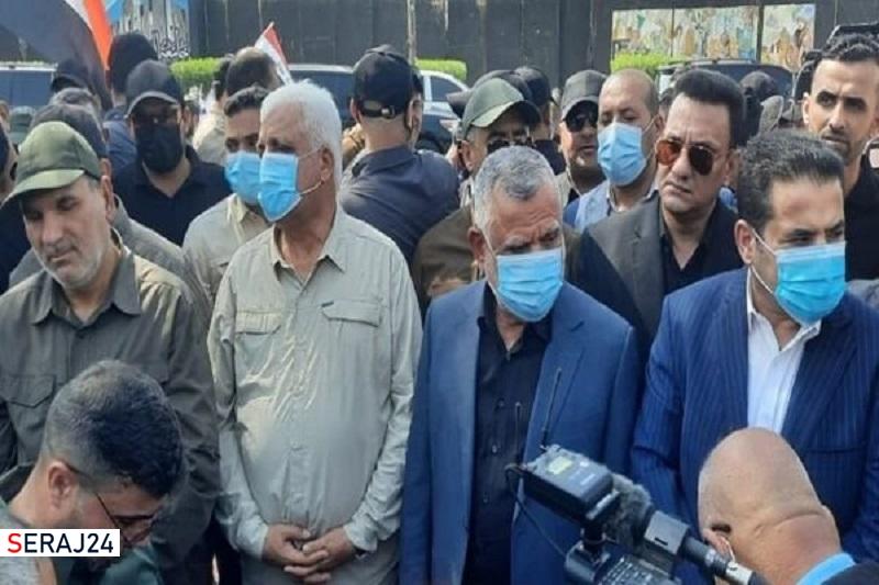برگزاری مراسم تشییع پیکر شهدای حشد شعبی با شعارهای ضد آمریکایی