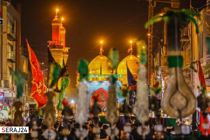 موکب داران بغداد در باب المراد حرمین کاظمین به عزاداری پرداختند