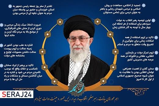 عکس نوشت/ گزیده های بیانات رهبر انقلاب در دیدار با کابینه دولت سیزدهم