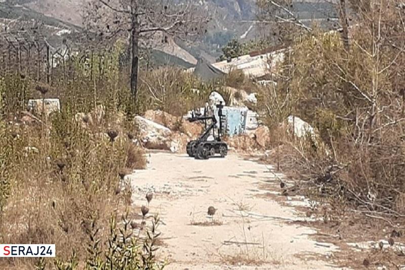 واژگونی ربات ارتش صهیونیستی حین بررسی یک کیسه مشکوک در مرز لبنان