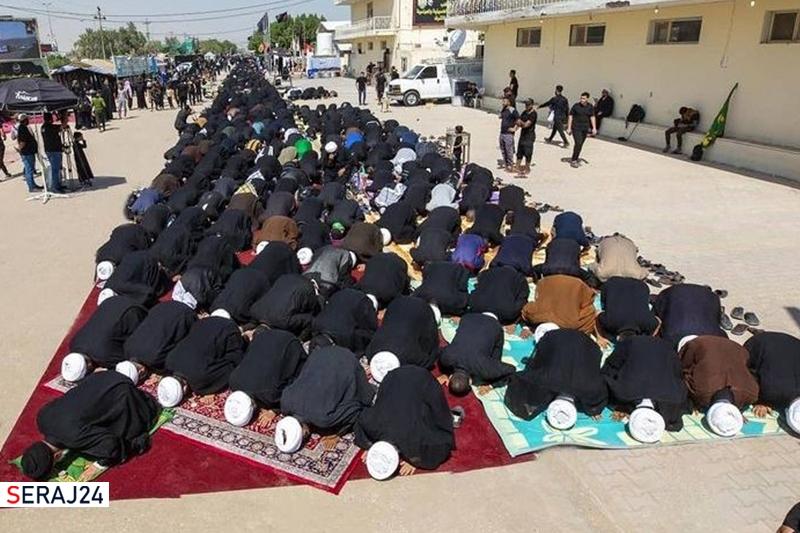 اقامه طولانیترین نماز جماعت در مسیر به کربلای معلی