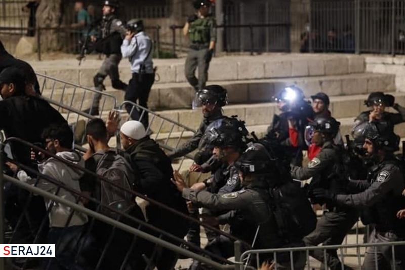 درگیری شدید فلسطینی ها و نظامیان رژیم صهونیستی در قدس اشغالی