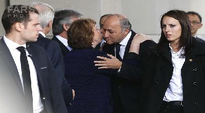 روبوسی اشتون با وزیر امور خارجه فرانسه+عکس