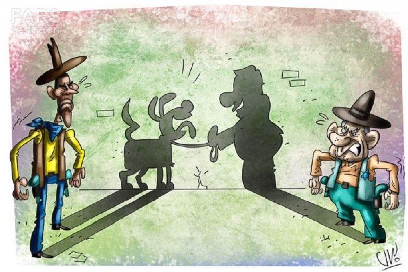 دوئل کاخ سفید و نتانیاهو/کاریکاتور