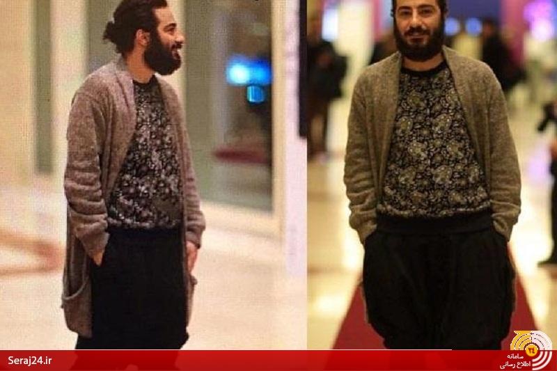 لباسهای عجیب یک بازیگر؛ از پوشیدن شلوار عجیب در جشنواره فجر تا نصب یک نقاشی به روی پالتو و پوشیدن شلوارک با کت+تصاویر