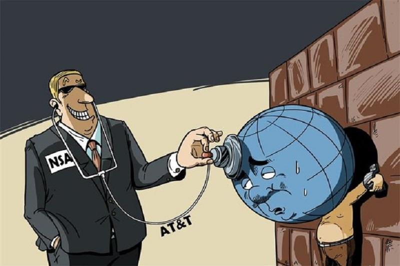کاریکاتور:افشای جاسوسی جهانی سازمان امنیت ملی آمریکا